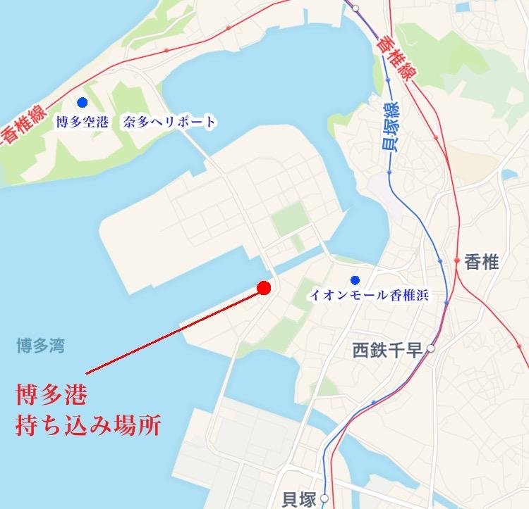 博多港の地図